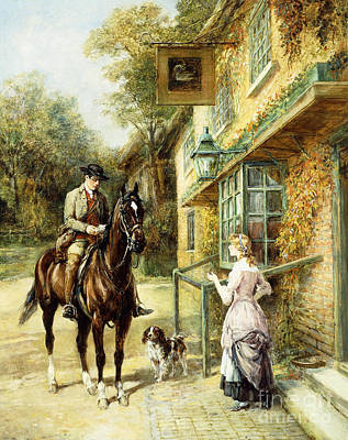 Painting - The Village Postman by Heywood Hardy