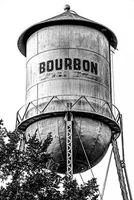 Photograph - The Vintage Bourbon Water Tower - High Contrast Monochrome Edition by Gregory Ballos
