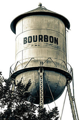 Photograph - The Vintage Bourbon Water Tower - High Contrast Sepia Edition by Gregory Ballos