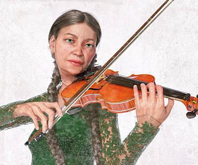 Digital Art - The Violin Mother by Betsy Knapp
