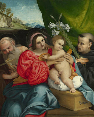 Painting - The Virgin And Child With Saints Jerome And Nicholas Of Tolentino by Lorenzo Lotto
