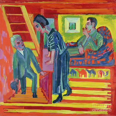 Painting - The Visit Couple And Newcomer, 1922  by Ernst Ludwig Kirchner