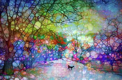 Digital Art - Dog Dreams And Enchanted Trees by Tara Turner