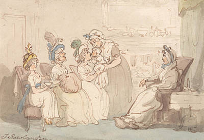 Drawing - The Visitors Being Shown The Baby by Thomas Rowlandson