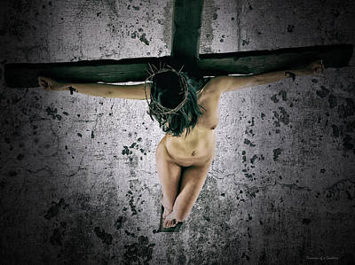 Crucifixion Wall Art - Photograph - The Wall Cross by Ramon Martinez