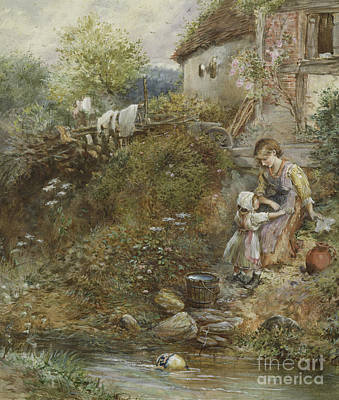 Painting - The Washing Day  by Myles Birket Foster