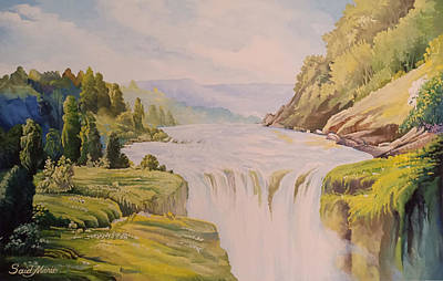 Painting - The Waterfall by Said M Marie