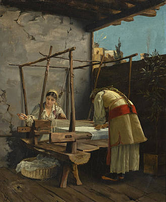 Painting - The Weavers, Arachova by Theodoros Rallis