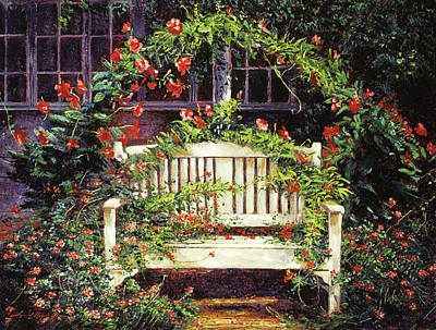 Painting - The White Sunbench by David Lloyd Glover