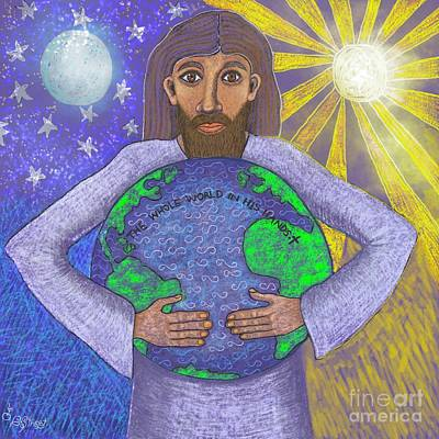Digital Art - The Whole World In His Hands by Caroline Street