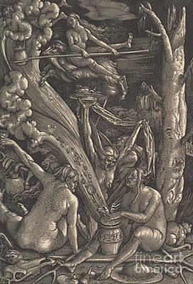 Drawing - The Witches, 1510 by Hans Baldung Grien
