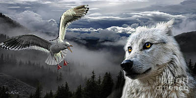 Photograph - The Wolf And The Gull by Kira Bodensted
