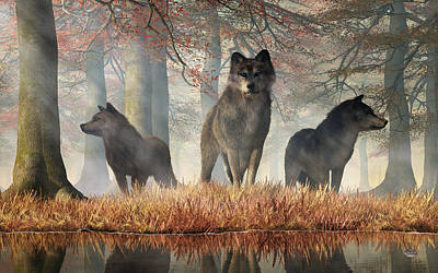 Digital Art - The Wolves Of Autumn by Daniel Eskridge
