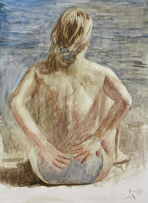 Painting - The Woman On The Beach by Hans Egil Saele