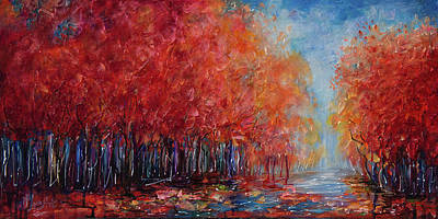 Painting - The World Is Empty Without You Palette Knife By Olena Art by OLena Art Brand