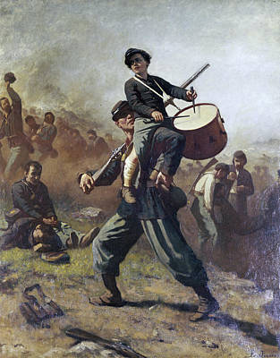 Holding Painting - The Wounded Drummer Boy By Eastman by Superstock
