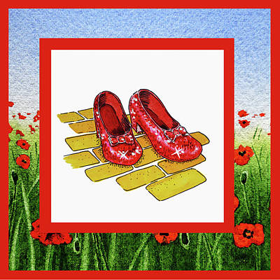 Baum Wall Art - Painting - The Yellow Brick Road Poppies Field And Ruby Slippers by Irina Sztukowski