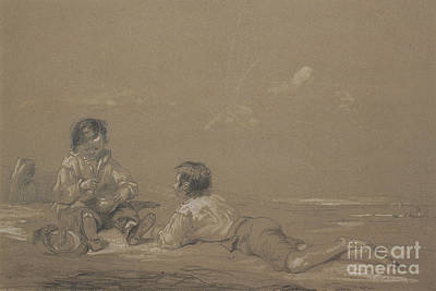 Drawing - The Young Boat Builders by John Constable