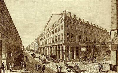 Drawing - Theatre National In Rue De La Loi, Paris Now Rue Richelieu. Founded In 1793 By Montansier by French School