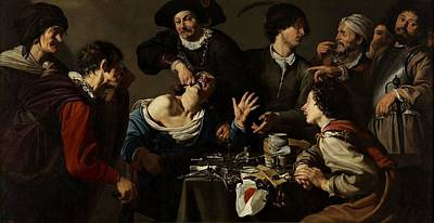 Painting - Theodor Rombouts   El Charlat An Sacamuelas  1627  by Celestial Images