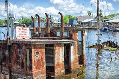 Photograph - The Sunken Tugboat Fine Art Photography - Digital Painting By Mary Lou Chmura by Mary Lou Chmura