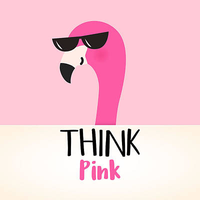 Digital Art - Think Pink - Baby Room Nursery Art Poster Print by Dadada Shop