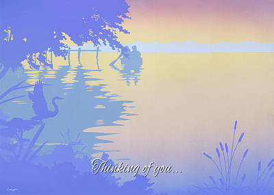 Painting - Thinking Of You Greeting Card - Rowing Boat To The Dock Sunset Tropical Seascape by Walt Curlee