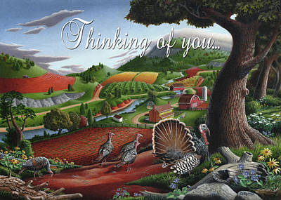 Tapestry - Textile - Thinking Of You Greeting Card - Wild Turkey Country Landscape by Walt Curlee
