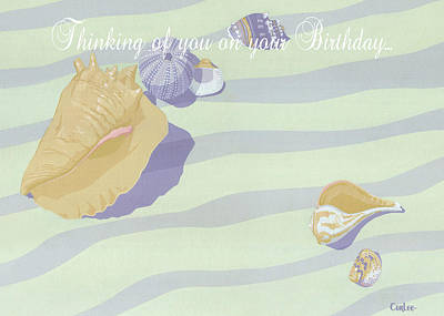 Painting - Thinking Of You On Your Birthday Greeting Card - Beach Seashells In The Surf by Walt Curlee