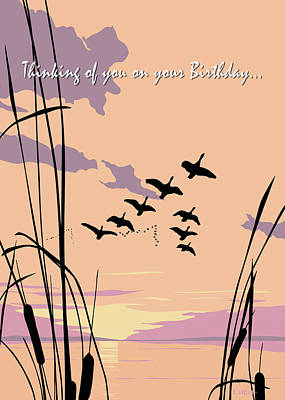 Painting - Thinking Of You On Your Birthday Greeting Card - Ducks Flying At Sunset by Walt Curlee