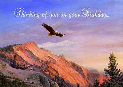 Painting - Thinking Of You On Your Birthday Greeting Card - Eagle Flying Western Landscape by Walt Curlee