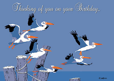 Painting - Thinking Of You On Your Birthday Greeting Card - Flying Pelicans Seascape by Walt Curlee