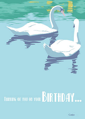 Painting - Thinking Of You On Your Birthday Greeting Card - Two Swans On Lake by Walt Curlee