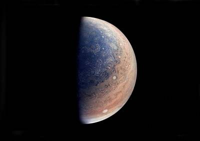 Painting - This Enhanced Color View Of Jupiter's South Pole Was Created Using Data From The Junocam Instrument  by Celestial Images