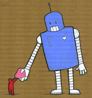 Holding Digital Art - This Robot Has Heart by All Images © Tyler Garrison, 2009.