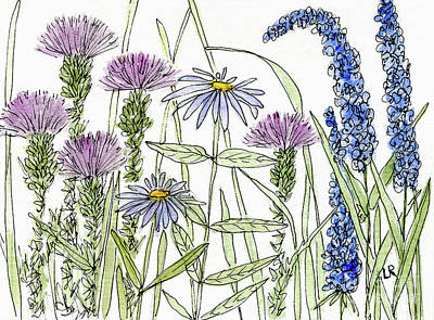 Thistle Asters Blue Flower Watercolor Wildflower Art Print