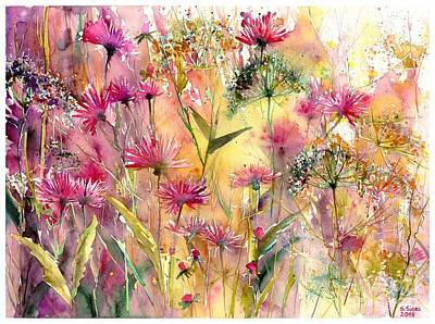 Appalachia Wall Art - Painting - Thistles Impression by Suzann's Art