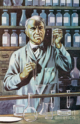 Painting - Thomas Alva Edison, American Inventor And Businessman  by Ron Embleton