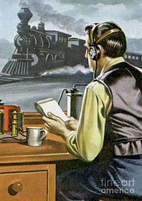 Painting - Thomas Edison, The Railway Telegraphist  by Ron Embleton