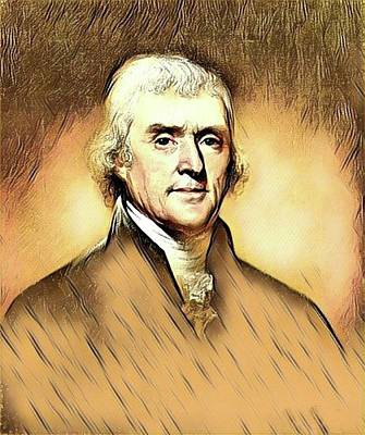 Politicians Mixed Media - Thomas Jefferson by Teresa Trotter