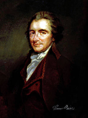 Photograph - Thomas Paine Common Sense Founding Fathers Signature On Portrait by Doc Braham