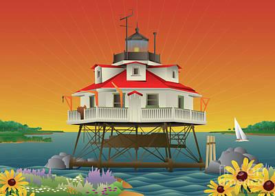 Digital Art - Thomas Point Shoal Lighthouse by Joe Barsin