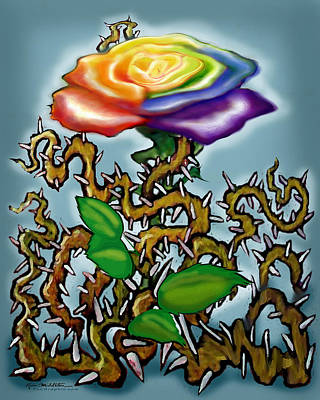 Digital Art - Thorns N Rainbow Rose by Kevin Middleton