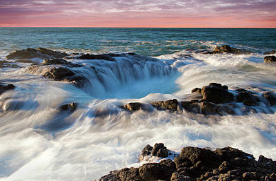 Photograph - Thor's Well Central Coast Oregon Sunset V4 by Rospotte Photography