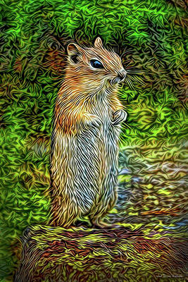 Digital Art - Thoughtful Chipmunk by Joel Bruce Wallach