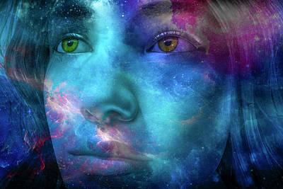 Surrealism Digital Art - Thoughtful Stargazer by Betsy Knapp
