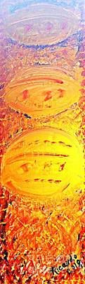 Three Gold Alien Ufo Space Ships Arriving On Earth Original