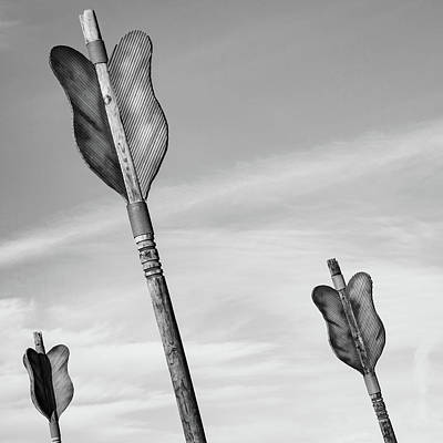 Photograph - Three Arrows - Downtown Fort Smith Arkansas - Monochrome by Gregory Ballos