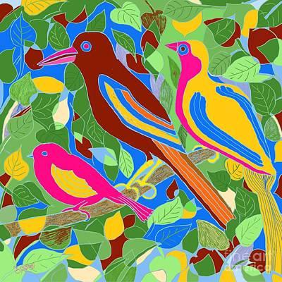 Digital Art - Three Birds On A Branch by Caroline Street