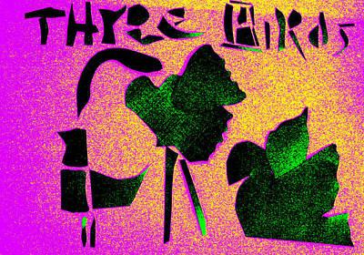 Digital Art - Three Birds Purple And Yellow by Artist Dot